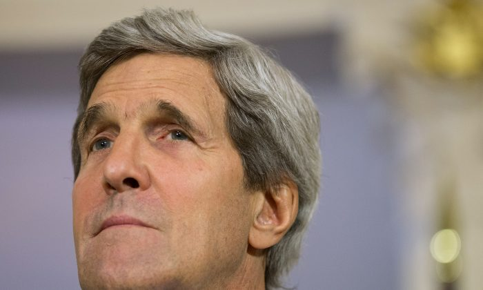 A file photo of U.S. Secretary of State John Kerry is seen at the State Department in Washington. (AP Photo/Evan Vucci, File)