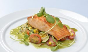 Top Chef Recipe: Grilled Atlantic Salmon With Roasted Corn, Zucchini and Tomatoes, Tomatillo Salsa
