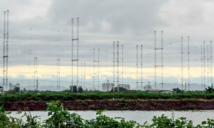 Radio Taiwan International's substation in Tianma, Tainan, has 20 antennas, each 75 meters high, forming a circle. RTI is planning to shut down its substations and end its contracts with Sound of Hope Radio and Radio Free Asia. SOH suspects that the suddenness and resoluteness of the decision may suggest political pressure from mainland China, whose regime has long resented the broadcaster. (Li Yuan/Epoch Times)