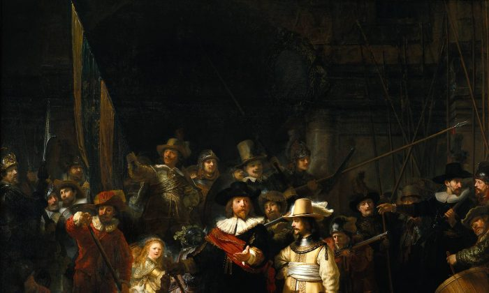 The Company of Frans Banning Cocq and Willem van Ruytenburch, known as the 'Night Watch'. by Rembrandt van Rijn in 1642. Oil on canvas, 149.4 in. by 178.5 in. (rijksmuseum)