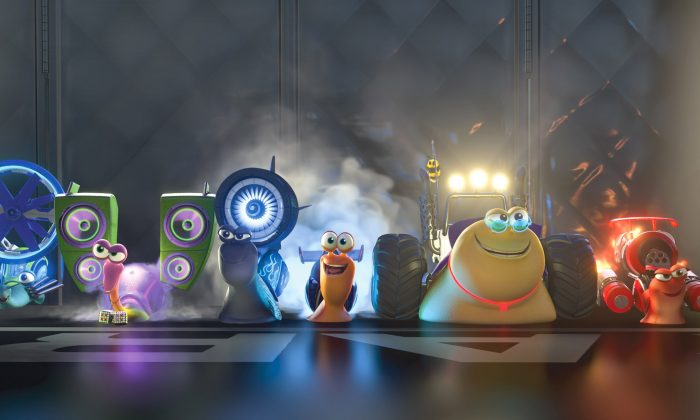 """Turbo (center, voiced by Ryan Reynolds) and the Racing Snails in the animated film """"Turbo."""" (Courtesy of Dream Works Animation LLC)"""