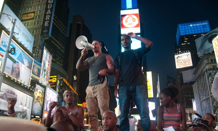 Roughly 2,000 protesters take over Times Square on July 14, 2013 to protest the acquittal of George Zimmerman in the fatal shooting of Trayvon Martin. (Joshua Philipp/Epoch Times)