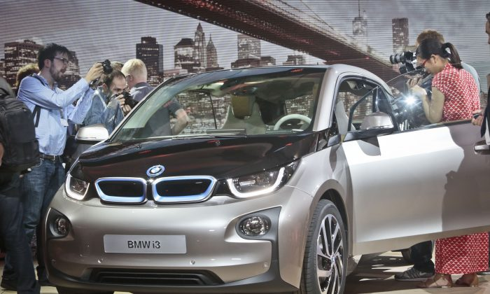 The light-weight BMW i3 is designed to maximise its range. (AP Photo/Bebeto Matthews)