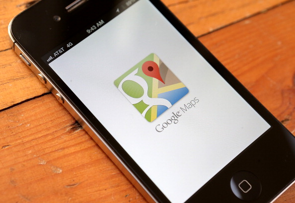 The Google Maps app is seen on an Apple iPhone 4S. (Justin Sullivan/Getty Images)