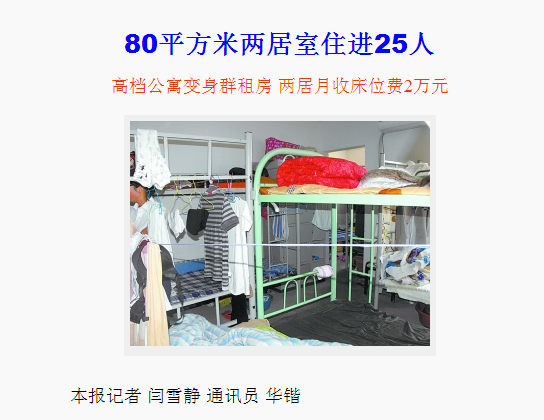 A screengrab of the state-run Beijing Daily's Monday report on the 25 students living in an 861 square feet apartment in downtown Beijing. Landlords squeezed 25 college students into a cramped, fetid apartment, charging each person $130 (800 yuan) for a bunk bed. (Beijing Daily)