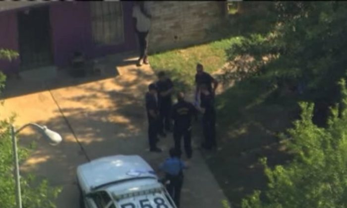 A screenshot of ABC Houston's video shows the home. It was reported Friday that four women and four men were found in a prison-like room. One man said he was kept there for 10 years.