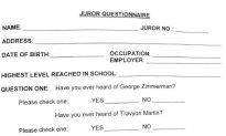 'Trayvon Martin' Mispelled on Zimmerman Trial Jury Questionnaire
