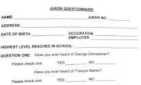 'Trayvon Martin' Mispelled on Zimmerman Trial Jury Questionnaire