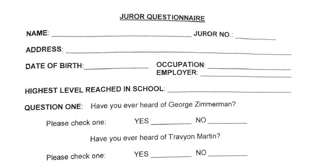 A screenshot of the juror questionnaire uploaded to local Florida broadcaster WESH-TV's website shows Trayvon Martin's name spelled wrong. (Screenshot/WESH-TV)