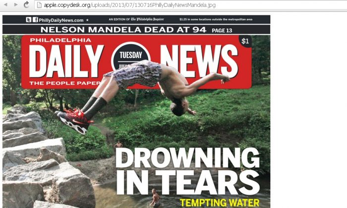 A screenshot of Charles Apple's blog shows the purported Philadelphia Daily News front page gaffe.