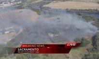 Sacramento Fire: Grass Fire Near Highway 160, American River