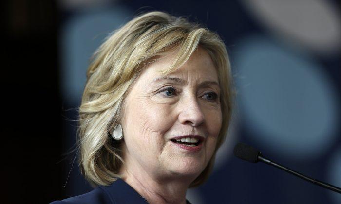 A file photo of former Secretary of State Hillary Clinton speaking in Bryn Mawr, Pa. (AP Photo/Matt Rourke, File)