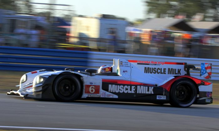 The #6 Muscle Milk Pickett Racing HPD ARX-03a-Honda of Lucas Luhr and Klaus Graf, in action here at Sebring, clinched the 2013 ALSM championship with their win at Baltimore on Saturday, Aug 31. (Chris Jasurek/Epoch Times)