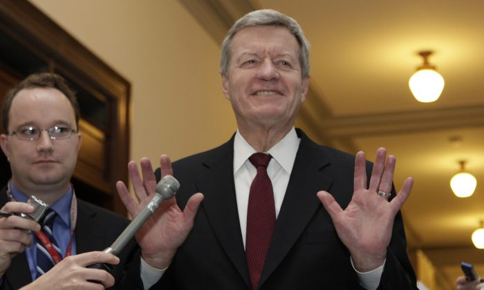 Senator Max Baucus (D-MT) speaks to the media on Capitol Hill in Washington, DC in this file foto. The Senator had warned as early as 2009 that TARP could be prone to fraud. (Yuri Gripas/AFP/Getty Images)