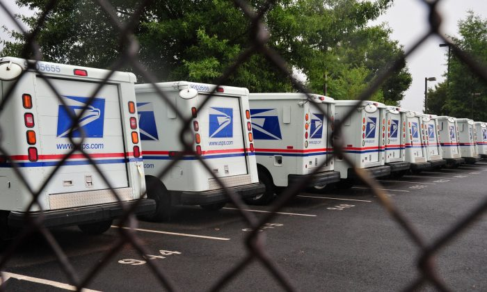 U.S. Postal Service mail delivery trucks sit idle at the Manassas Post Office in this file photo.  (Karen Bleier/AFP/Getty Images)
