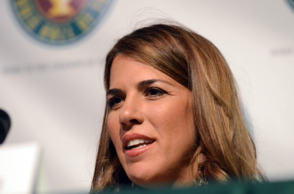 Jennifer Capriati speaks at a press conference prior to being inducted into the International Tennis Hall Of Fame July14, 2012 in Newport, Rhode Island. (Photo by Darren McCollester/Getty Images)