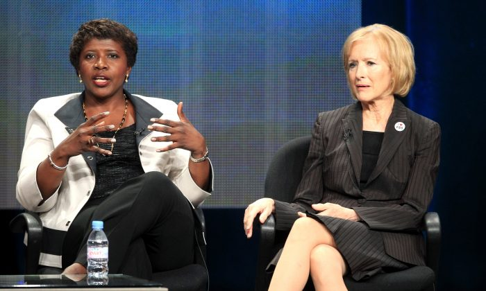 Gwen Ifill, Washington Week, PBS NewsHour (L) and Judy Woodruff, PBS NewsHour speak onstage at the 'PBS Election Coverage' panel during day 2 of the PBS portion of the 2012 Summer TCA Tour held at the Beverly Hilton Hotel on July 22, 2012 in Los Angeles, California. (Frederick M. Brown/Getty Images)