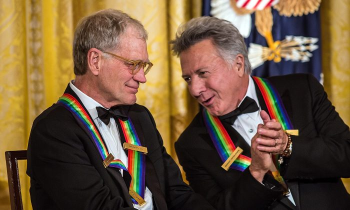 Comedian David Letterman (L) and actor Dustin Hoffman attend the Kennedy Center Honors reception at the White House on December 2, 2012 in Washington, DC. Hoffman successfully underwent treatment for cancer, his representative said on August 6, 2013. (Brendan Hoffman/Getty Images)