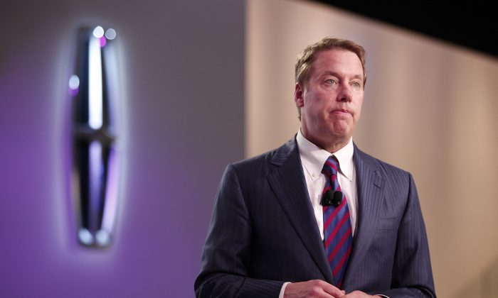 Ford Motor Company Chairman Bill Ford introduced the new Lincoln MKC crossover concept vehicle during its world debut at the 2013 North American International Auto Show in Detroit, Mich., Jan. 14, 2013. (Bill Pugliano/Getty Images)