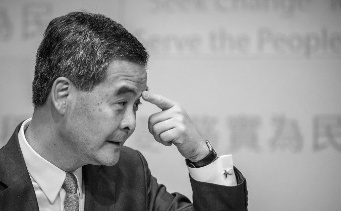In this file photo, Hong Kong chief executive Leung Chun-ying is seen at a press conference following his maiden policy speech, in Hong Kong on Jan. 16, 2013. Democracy activists in Hong Kong are accusing Leung of using members of the mafia to try to intimidate them. (Philippe Lopez/AFP/Getty Images)