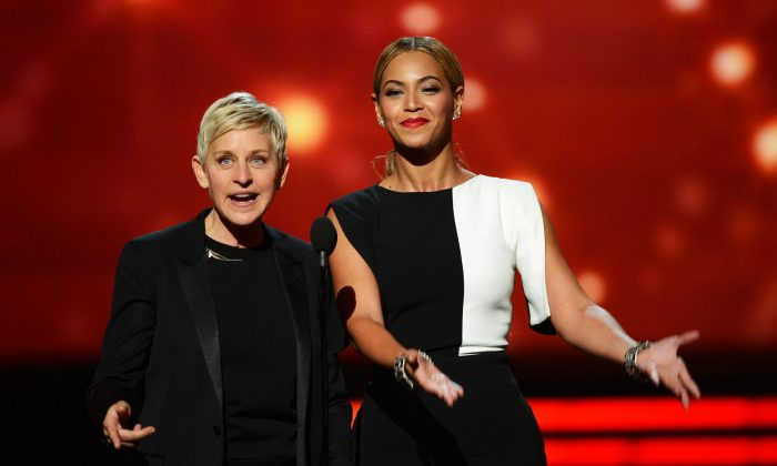 TV personality Ellen DeGeneres (L) and singer Beyonce speak onstage at the 55th Annual GRAMMY Awards at Staples Center on February 10, 2013 in Los Angeles, California. (Kevork Djansezian/Getty Images)