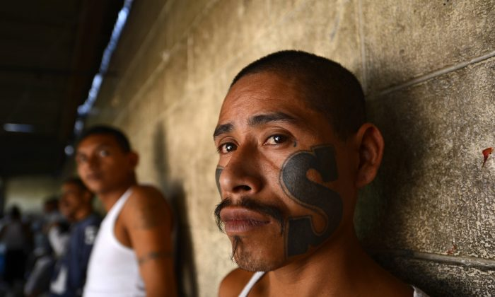 Members of Mara Salvatrucha (MS13), held on Monday, March 4, 2013, in the Criminal Center of Ciudad Barrios in El Salvador. (Marvin RECINOS/AFP/Getty Images)