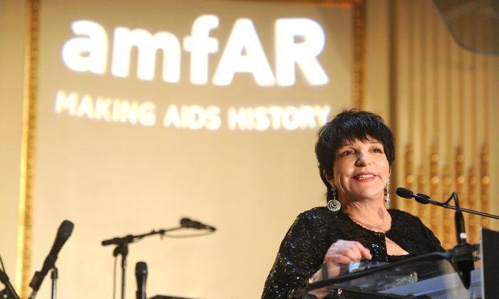 Liza Minnelli speaks onstage during the 4th Annual amfAR Inspiration Gala New York at The Plaza Hotel on June 13, 2013 in New York City. (Photo by Jamie McCarthy/Getty Images)