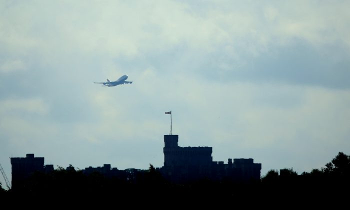 A Jumbo Jet takes off from Heathrow airport over Windsor Castle during day two of the 2013 Samsung World Rowing Cup II at Eton Dorney in Windsor, England, on June 22, 2013. Journalist David Miranda was detained and questioned at Heathrow on Sunday, Aug. 18, 2013, in relation to his work on the Edward Snowden, U.S. National Security Agency leaks. (Richard Heathcote/Getty Images)