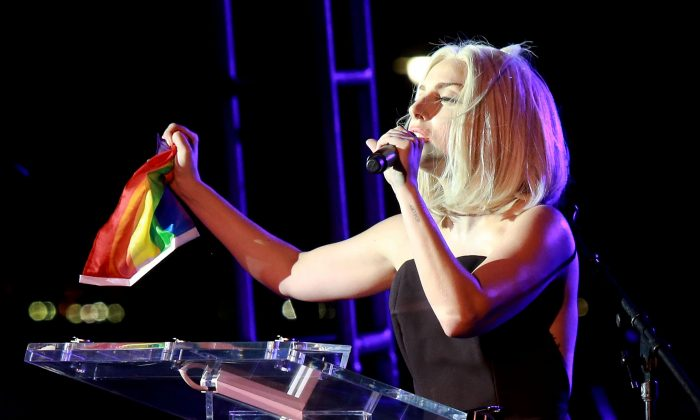 Lady Gaga attends The Rally during NYC Pride 2013 on June 28, 2013 in New York City. (Photo by Robin Marchant/Getty Images)