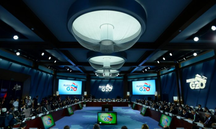 Participants of G20 Finance Ministers and Central Bank Governors' meeting attend the plenary session in Moscow, Russia, on July 19, 2013. Hackers are targeting G20 attendees. (Kirill Kudryavtsev/AFP/Getty Images)