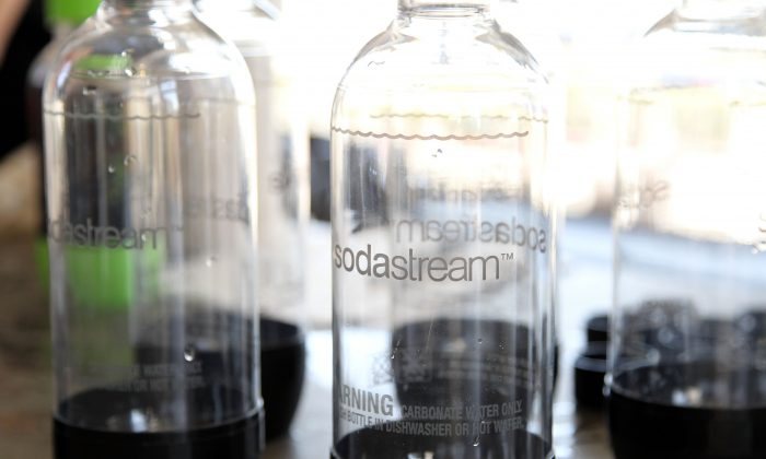 SodaStream beverage carbonation bottles are pictured at a SodaStream-sponsored event held at The Broad Stage theater in Santa Monica, Calif., on Aug. 1, 2013. (Jonathan Leibson/Getty Images for PMC)
