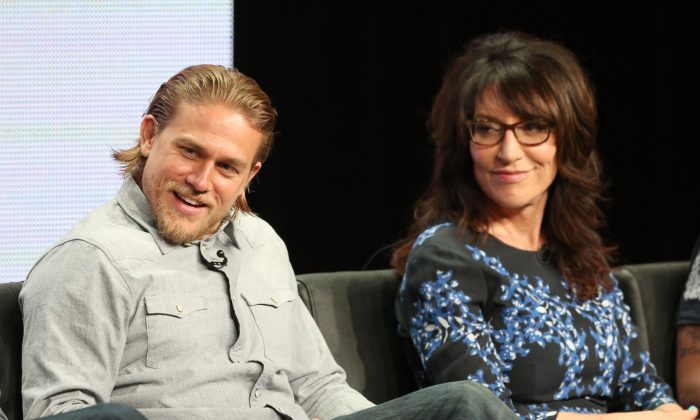 Actors Charlie Hunnam and Katey Sagal speak onstage during the 'Sons of Anarchy' panel discussion at the FX portion of the 2013 Summer Television Critics Association tour - Day 10 at The Beverly Hilton Hotel on August 2, 2013 in Beverly Hills, California. (Frederick M. Brown/Getty Images)