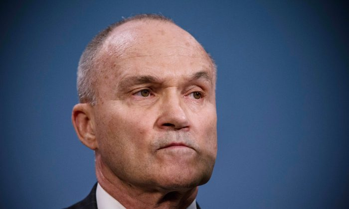 New York Police Department (NYPD) Commissioner Ray Kelly speaks at a press conference about the NYPD's Stop-and-Frisk practice in New York City on Aug. 12, 2013. A federal court judge ruled that Stop-and-Frisk violates rights guaranteed to people and the Bloomberg administration has vowed to appeal the case. (Andrew Burton/Getty Images)