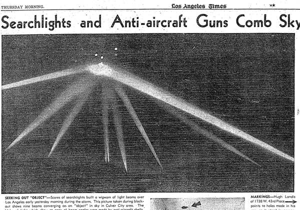 The original article in L.A. Times describing the scene on Feb. 24, 1942 where the U.S. military fired 1,400 12.8-pond of shells into the Los Angeles Sky. (L.A. times archive)