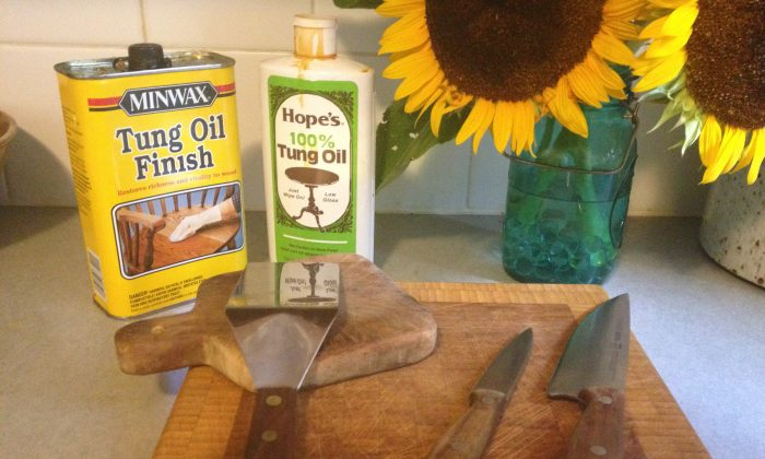 Wood cutting boards and kitchen utensils can be treated with tung oil so they look beautiful and last longer. (Phoebe Ryles/Epoch Times)