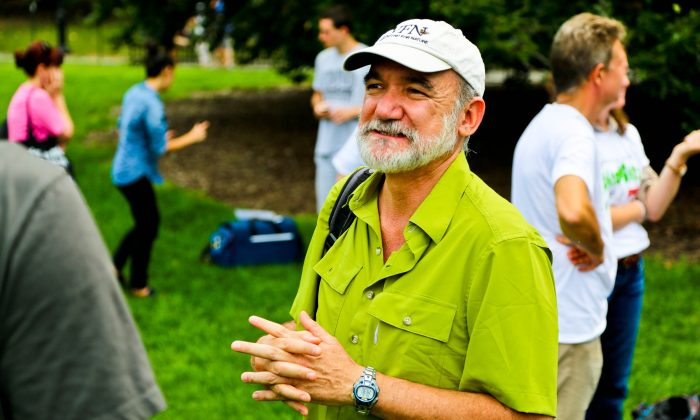 Rodrigo Medellin, senior professor of ecology at the University of Mexico, speaks to the press at the launch of the BioBlitz, a biodiversity survey, in Central Park, New York City, Aug. 26, 2013.