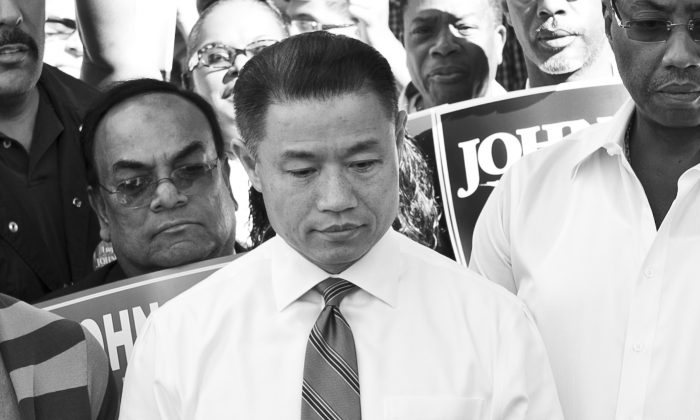 John Liu responds to the Campaign Finance Board denying his mayoral campaign $3.5 million in public matching funds outside the city comptroller's office in New York on Aug. 5. (Samira Bouaou/Epoch Times)