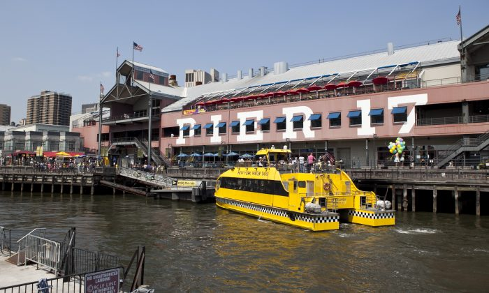 Pier 17 in Lower Manhattan, New York City, Aug. 26, 2013. Businesses like water taxis will be displaced by the construction that starts on Oct. 1. (Samira Bouaou/Epoch Times)