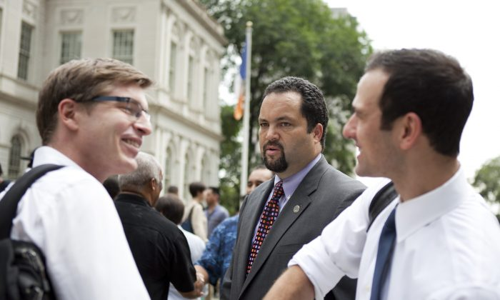 Ben Jealous, President and CEO of the NAACP, outside of City Hall on Aug. 22 before a full city council vote on the Community Safety Act. (Samira Bouaou/Epoch Times)