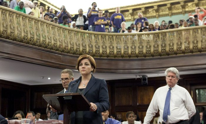City Council Speaker Christine Quinn at City Hall on Aug. 22 during the preliminary vote on the Community Safety Act. (Samira Bouaou/Epoch Times)