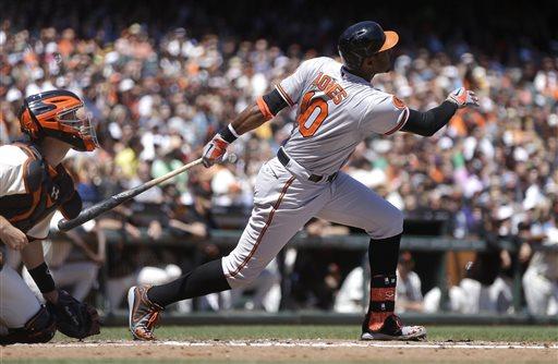 Baltimore Orioles' Adam Jones, right, follows through on an RBI sacrifice fly hit off San Francisco Giants' Chad Gaudin in the third inning of a baseball game Saturday, Aug. 10, 2013, in San Francisco. (AP Photo/Ben Margot)