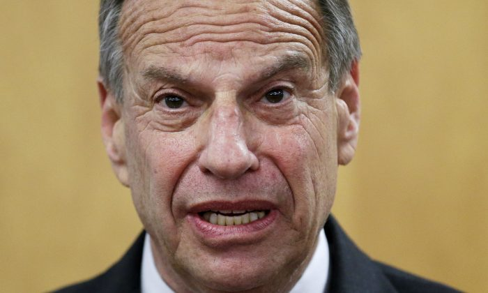FILE - In this July 26, 2013 file photo, San Diego Mayor Bob Filner speaks during a news conference at city hall, in San Diego. (AP Photo/Gregory Bull, File)
