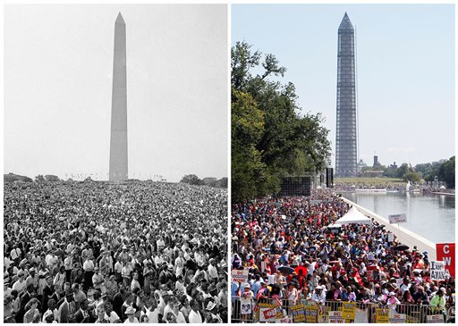"""At left, a mass of demonstrators leaves the Washington Monument for the March on Washington on Aug. 28, 1963; and at right, people line the Reflecting Pool as they attend a rally to commemorate the 50th anniversary of the 1963 march on Saturday, Aug. 24, 2013. President Barack Obama will attend a ceremony Wednesday, Aug. 28, 2013, the anniversary of the Rev. Martin Luther King Jr.'s  """"I Have a Dream"""" speech. (AP Photo/File)"""
