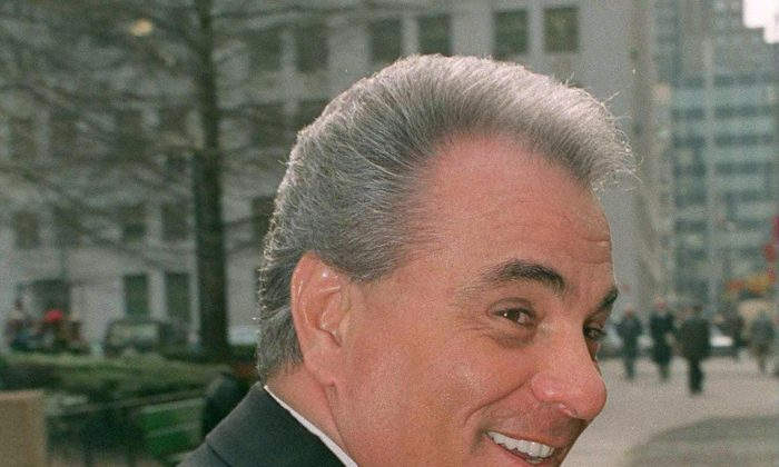 This picture taken 24 January 1990 in New York shows Gambino crime family boss John Gotti during a break in his trial. It has been reported 10 June 2002 that Gotti has died in Missouri from complications from cancer. (MARK CARDWELL/AFP/Getty Images)