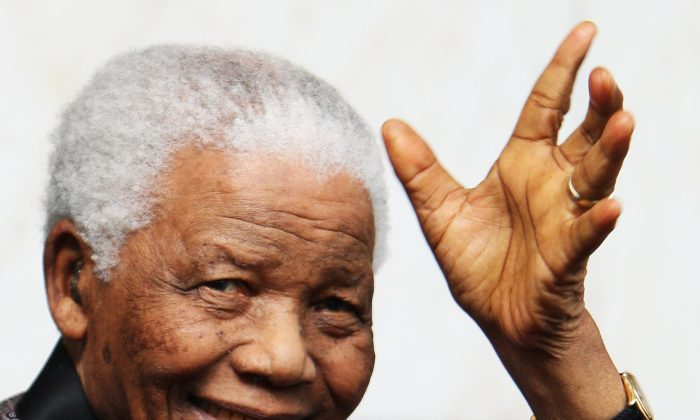 Nelson Mandela in London in this 2008 file photo. (Chris Jackson/Getty Images)