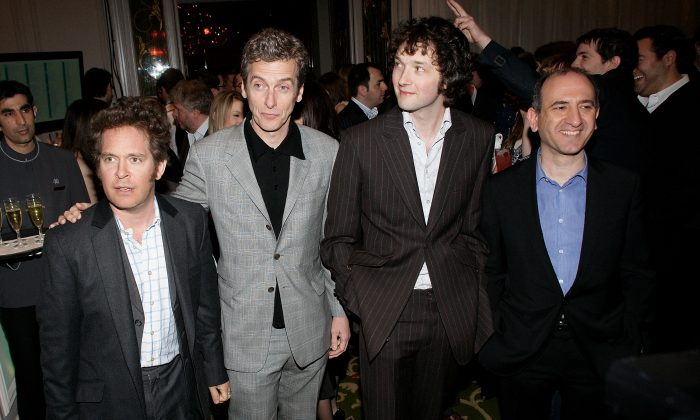 Tom Hollander (L), Peter Capaldi, (2nd L) and Armando Iannuci (R) attend the Jameson Empire Magazine Awards held at The Grosvenor House Hotel, Park Lane on March 29, 2009 in London, England. (Photo by Dave Hogan/Getty Images)