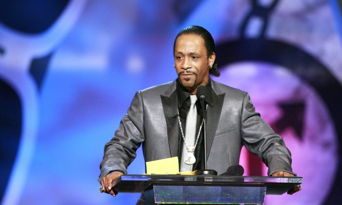 """Comedian Katt Williams is seen onstage during the """"Comedy Central Roast of Flavor Flav"""" in Burbank, Calif. in this file photo. (AP Photo/Matt Sayles)"""