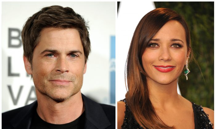 """NBC's """"Parks and Recreation"""" cast members Rob Lowe, left, and Rashida Jones are seen in April, 2012, left, and Feb, 2013 file photos. Lowe and Rashida Jones will leave the series after the 13th episode of the upcoming sixth season. They play characters Chris Traeger and Ann Perkins. (AP Photo/Invision, File)"""