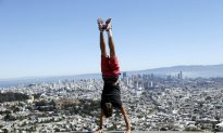 Adrian Montes Does a Hand Stand at Twin Peaks