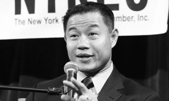 Democratic mayoral hopeful John Liu talks at a candidate forum where he proposed legalizing marijuana in New York, Tuesday, Aug. 13, 2013. (AP Photo/Seth Wenig)